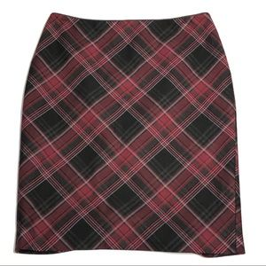 WHBM Plaid Pencil Skirt Red Black Holiday Career
